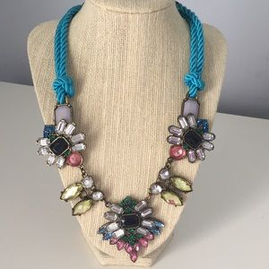 Rope and colorful rhinestone necklace